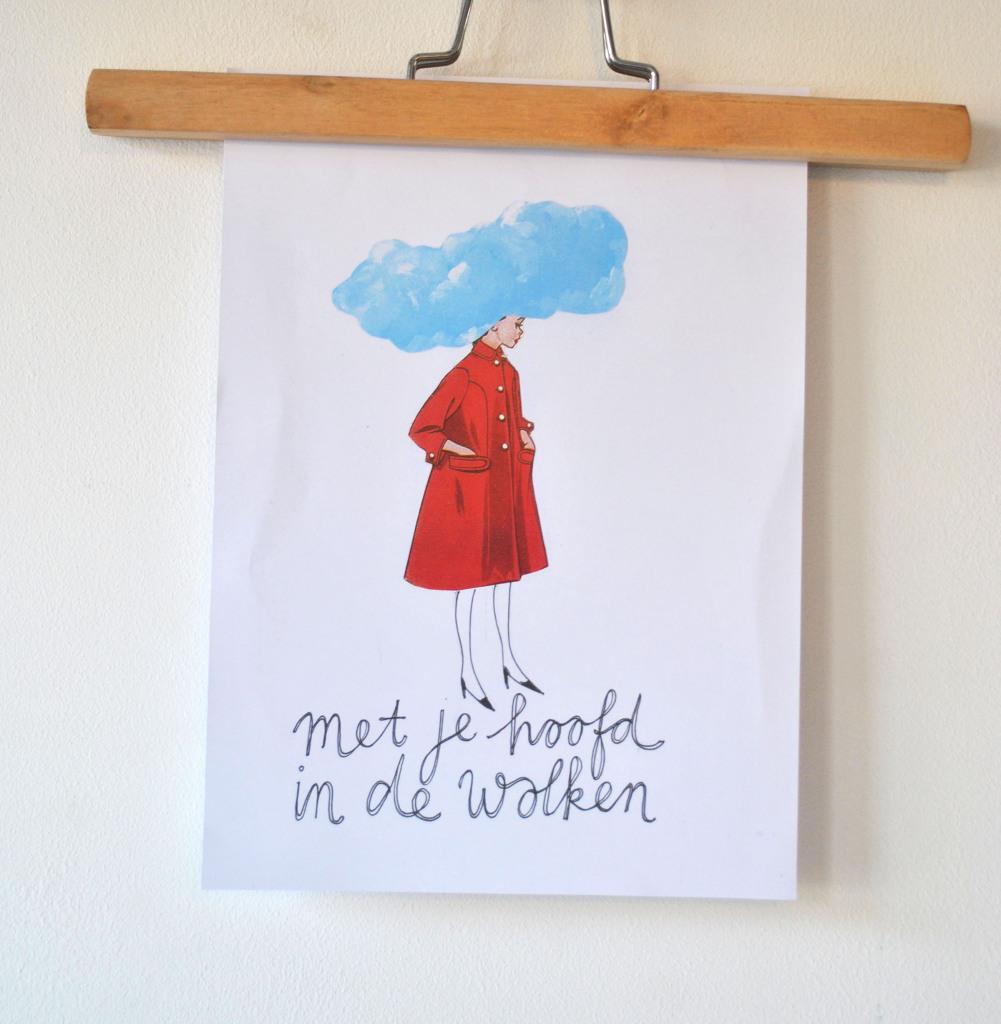 Tekening Met je hoofd in de wolken door Ingthings