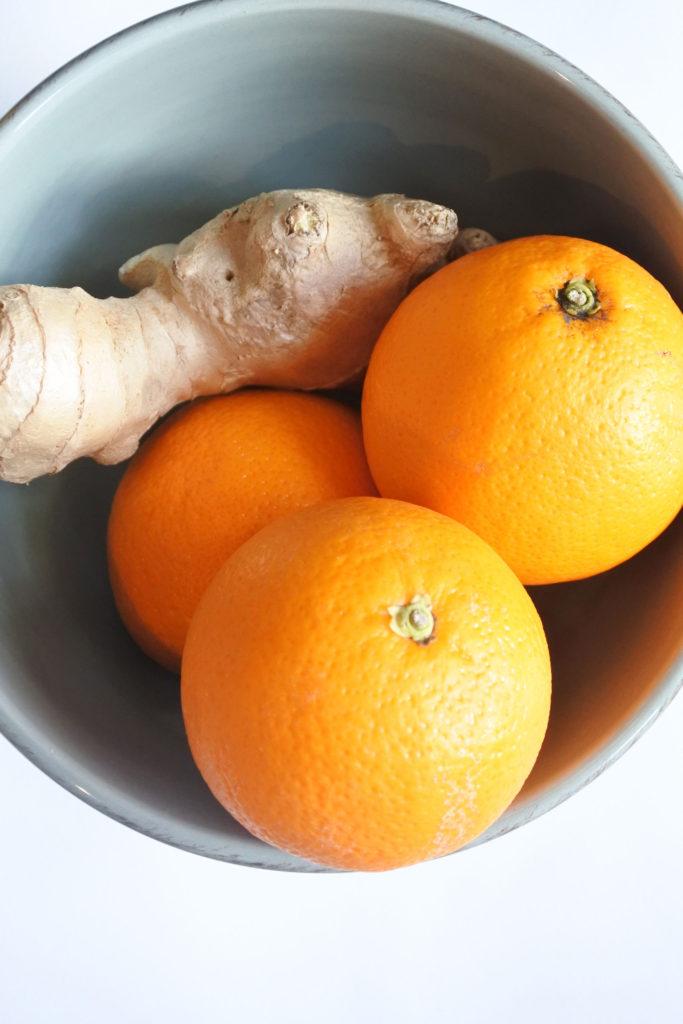Verse thee met gember en sinaasappel